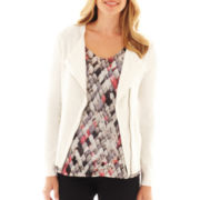 Liz Claiborne Long-Sleeve Moto Sweater