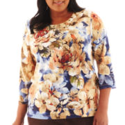 Alfred Dunner® San Antonio 3/4-Sleeve Floral Top - Plus