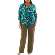 Alfred Dunner® Arbor Floral Top or Pull-On Pants - Plus