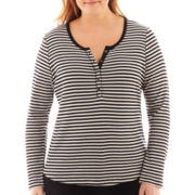 Liz Claiborne® Long-Sleeve Thermal Henley Top - Plus