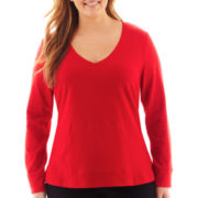 Liz Claiborne Long-Sleeve V-Neck Sweatshirt - Plus