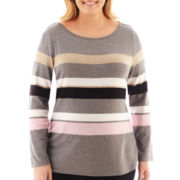Liz Claiborne Long-Sleeve Envelope-Neck Striped Tee - Plus