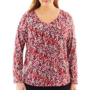 Liz Claiborne® Long-Sleeve Shirred V-Neck Tee - Plus