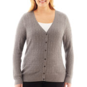 Liz Claiborne V-Neck Cable Cardigan Sweater - Plus