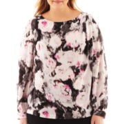 Liz Claiborne® Long-Sleeve Floral Blouse - Plus