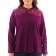 a.n.a® Long-Sleeve Lace-Inset Blouse - Plus