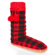 MUK LUKS® Womens Pom-Pom Slipper Socks