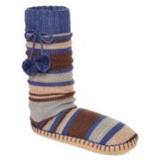 MUK LUKS® Womens Pom-Pom Slipper Socks