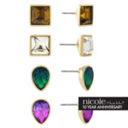 nicole by Nicole Miller® 4-pr. Multicolor Stone Teardrop Stud Earring Set