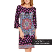 nicole by Nicole Miller® 3/4-Sleeve Print Shift Dress