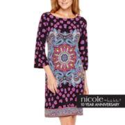 nicole by Nicole Miller® 3/4-Sleeve Print Shift Dress