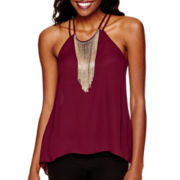 XOXO® Sleeveless Woven Fringe-Neck Top