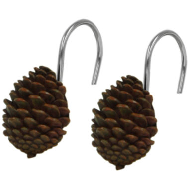 jcpenney.com | Bacova Pinecone Silhouette Shower Curtain Hooks