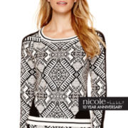 nicole by Nicole Miller® Long-Sleeve Intarsia Sweater