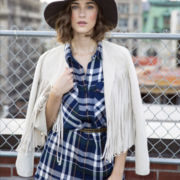 BELLE + SKY™ Fringe Faux-Suede Jacket or Plaid Romper