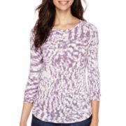 a.n.a® 3/4-Sleeve Back-Seam T-Shirt