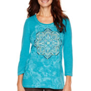 Made For Life™ 3/4-Sleeve Burnout Medallion Print T-Shirt