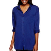 Almost Famous Long-Sleeve Button-Front Tunic