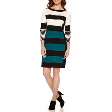 jcpenney.com | Studio 1 3/4 Sleeve  Wide Stripe Sweater Dress