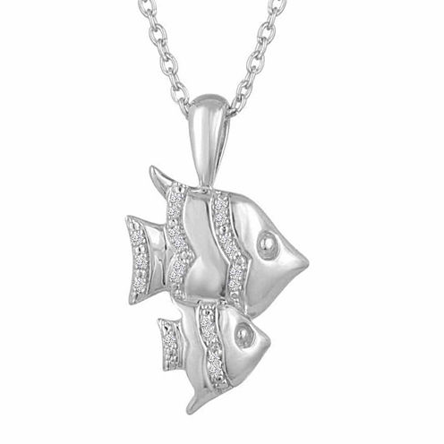 Womens White Diamond Accent Sterling Silver Pendant Necklace