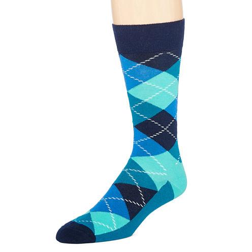 Happy Socks Mens Argyle-Printed Crew Socks