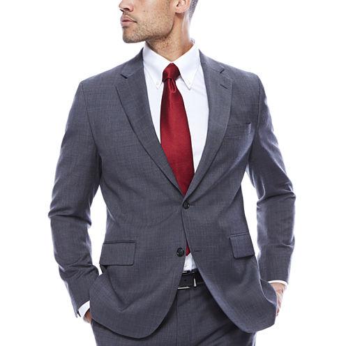 Stafford® Travel Stretch Charcoal Windowpane Slim Jacket