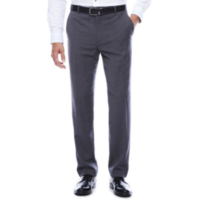 Stafford®  Travel Stretch Charcoal Windowpane Flat-Front Pants-Slim Fit
