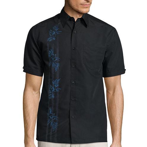 The Havanera Co.® Short-Sleeve Asymmetrical PanelPrint Shirt