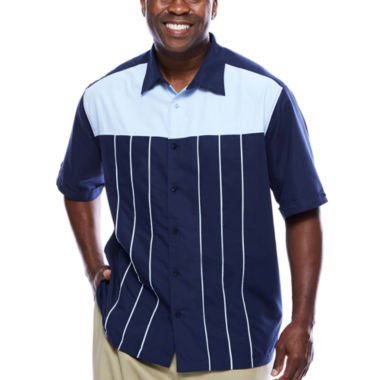 jcpenney.com | Havanera™ Poly Front Piped Yoke Short Sleeve Shirt