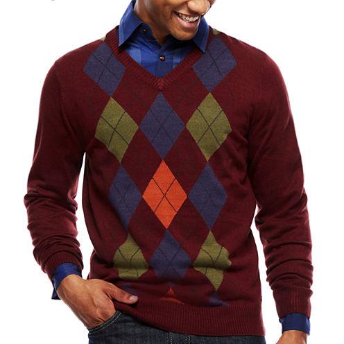 ARGYLECULTURE Long-Sleeve V Neck Argyle Sweater