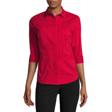jcpenney.com | Worthington® Elbow Sleeve Button-Front Oxford Shirt - Petite