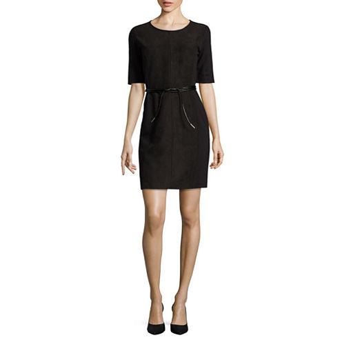 Liz Claiborne Short Sleeve Faux Suede Sheath Dress-Talls