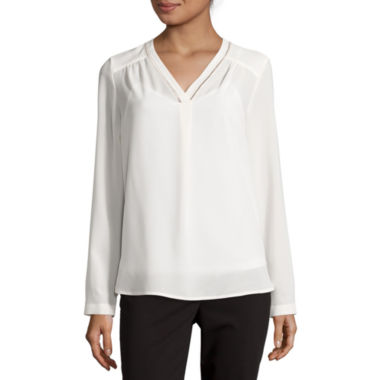 jcpenney.com | Liz Claiborne® Long-Sleeve Embroidered Blouse