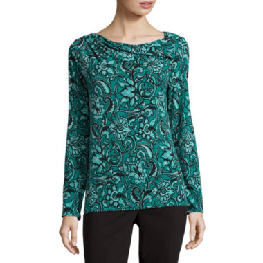 jcpenney.com | Liz Claiborne® Long-Sleeve Side-Twist Top