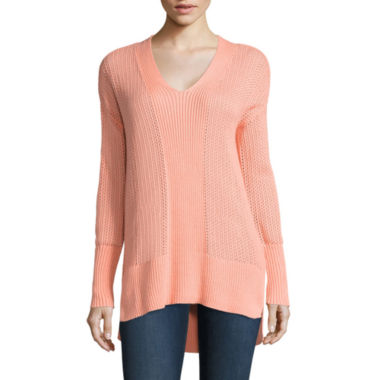 jcpenney.com | Stylus™ Long-Sleeve Pointelle V-Neck Tunic - Tall