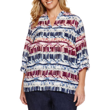 jcpenney.com | Alfred Dunner® Sierra Madre Long Sleeve Biadere Blouse, Denim Pant Plus
