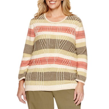 jcpenney.com | Alfred Dunner® Cactus Ranch 3/4 Sleeve Textured Stripe Pullover Sweater, Olive Pant Plus