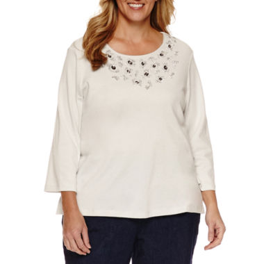 jcpenney.com | Alfred Dunner® Crescent City 3/4 Sleeve Beaded Yoke Tee, Denim Pant, Plus