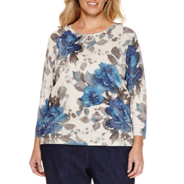 jcpenney.com | Alfred Dunner® Crescent City 3/4 Sleeve Shimmer Floral Sweater, Denim Pant Plus