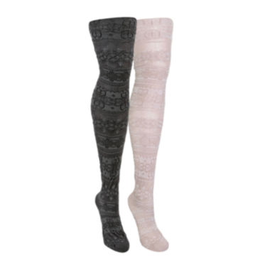jcpenney.com | MUK LUKS® 2-pk. Patterned  Microfiber Tights