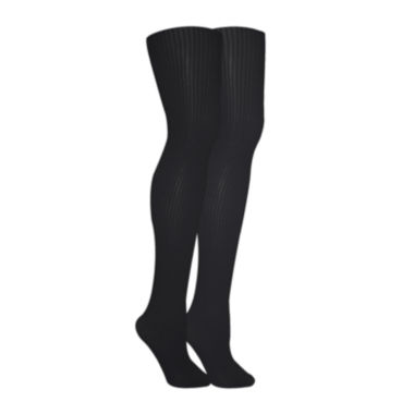 jcpenney.com | MUK LUKS® 2-pk. Ribbed  Microfiber Tights