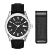 Claiborne® Mens Round Black Leather Strap Watch and Money Clip Box Set