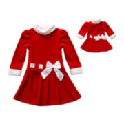 Dollie & Me Long-Sleeve Santa Dress - Girls 7-12