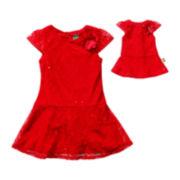 Dollie & Me Cap-Sleeve Dropwaist Dress - Girls 7-12