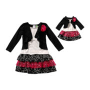 Dollie & Me Tiered Dress and Mock Shrug - Girls 7-12