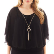 by&by 3/4-Sleeve Smocked Necklace Top