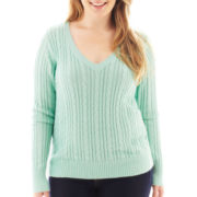 Arizona V-Neck Cable Knit Sweater - Plus