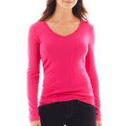 jcp™ Long-Sleeve V-Neck Tee - Tall