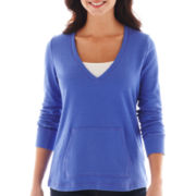 Liz Claiborne® Long-Sleeve Low V-Neck Sweatshirt