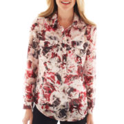 Liz Claiborne Long-Sleeve Floral Blouse with Cami - Tall
